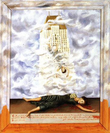 """The Suicide of Dorothy Hale, 1939 - Frida Kahlo Legenda: """"In the city of New York on the twenty-first day of the month of October, 1938, at six o'clock in the morning, Mrs. Dorothy Hale committed suicide by throwing herself out of a very high window of the Hampshire House building. In her memory [...*] this retablo, executed by Frida Kahlo."""""""